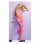 Off the schoulder fishnet Neon Pink Garter Dress