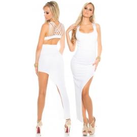 Sexy kort/lang kleed in het wit of zwart