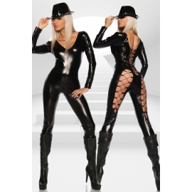 Wetlook Jumpsuit met veters