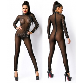 Transparent Catsuit/Jumpsuit met strass