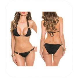 Zwarte Bikini met klinknagels