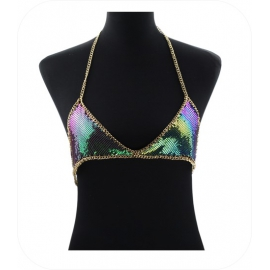 Multicolor Metal Chain Bikini Top