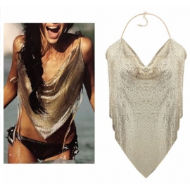 Goud Maxi Metal Halter Top