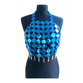 "Sexy Blauw Metal Halter Top ""Lovertjes"""
