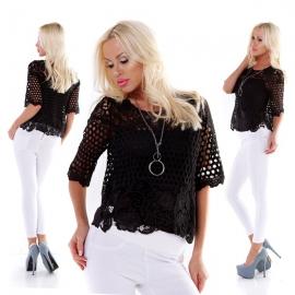 Zwarte kanten blouse 2 in 1