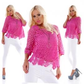 Fuchsia kanten blouse 2 in 1