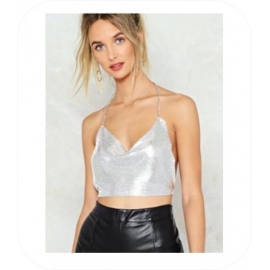 Zilver Mini Metal Halter Top