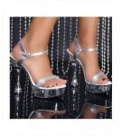 Zilver GoGo High Heels met Stras