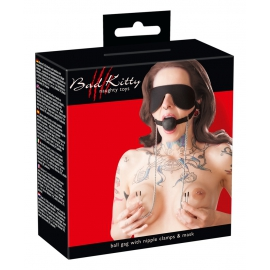 Mask with Ball Gag and Nipple Clamps