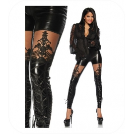 Wetlook Legging met kant en veters