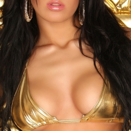 GoGo-WetLook Bikini Top Goud Metallic