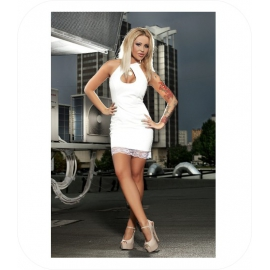 Lederlook Witte Mini Dress met kant
