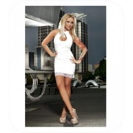 Lederlook Witte Mini Dress met kant