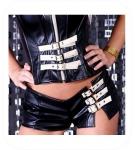 Zwart / Beige Hotpants met gesp - Maat: M