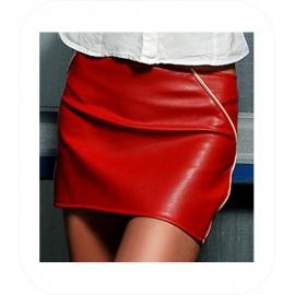 Rood Mini Rok met beige naad