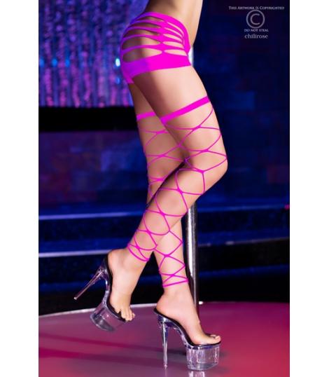 Neon Roze Netkousen zonder voeten