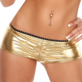 Goud Wetlook Hotpants met Strass