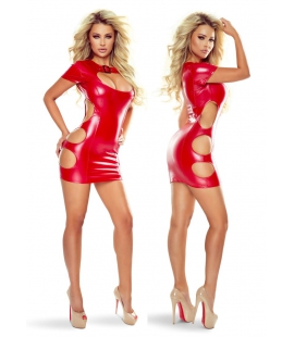 Red Wetlook Mini Dress met Cut Outs
