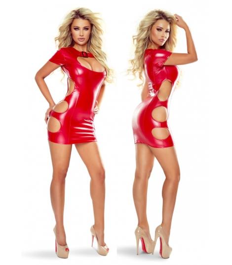 Red Wetlook Mini Dress met Cut Outs