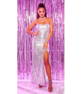 Silver Long Dress Sequin