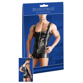 Men's Imitation Leather Playsuit