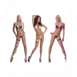 3-delig String Bikini Zwart / Neon Groen