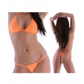 Neon Oranje String Bikini met Pailletten