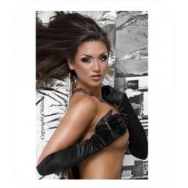 Zwarte handschoenen in satijn