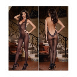 Nylon Bodystocking met kant