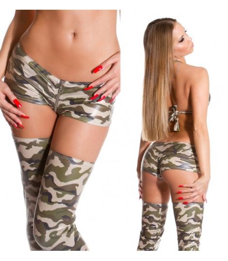 Army Wetlook Hotpants with zip
