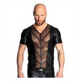Zwarte T-shirt met netstof