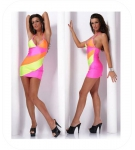 Sexy Neon 3-kleurig Halter Mini Dress