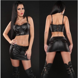 Zwarte Wetlook GoGo Rok Set
