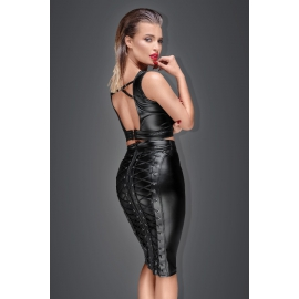 Muse - Wetlook Pencil Skirt met Vetersluitingen