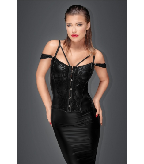 Muse - Wetlook Corset met Kant